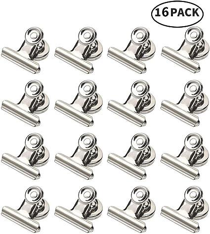 16 clips magn/éticos de metal im/án de nevera magn/ético para pizarra blanca con clip de metal para notas magn/éticas.