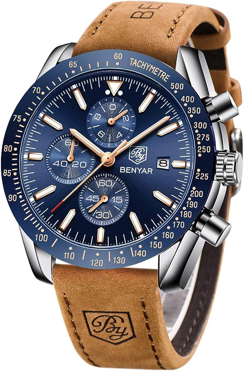 Relojes Hombre BENYAR Cronógrafo Analógico Cuarzo Pulsera de Cuero 30m Impermeable Deporte Watch Business Reloj Casual de Pulsera Regalo Elegante