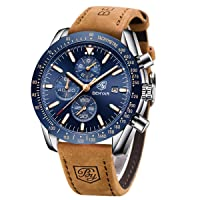 BENYAR Watches Men's Chronograph Analogue Quartz Watch for Men Leather Strap Fashion Business Sport Design 30M Waterproof Elegant Men Gift