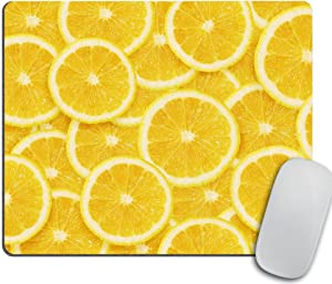 Yellow Lemon Slices Mousepad, Tropical Mouse Pad, Fruit Mousepad, Vegan Mouse Pad,, Funny Gift, Food Mousepad