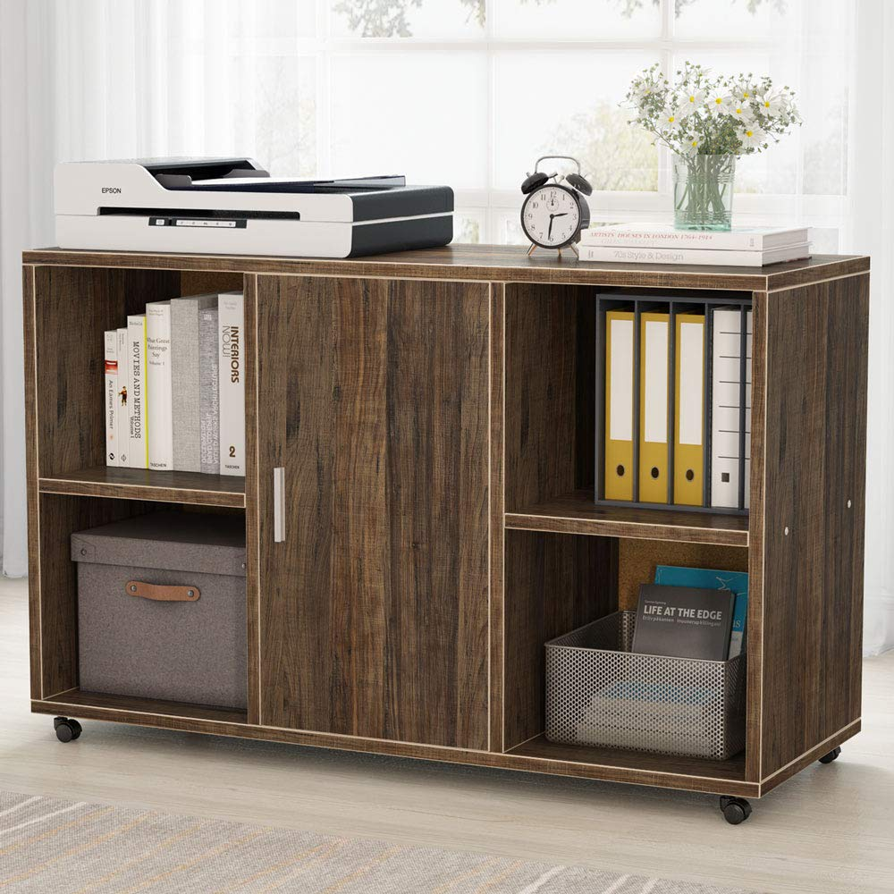 File Cabinet, Tribesigns Mobile Filing Cabinets, Works as Printer Stand & Office Cabinet with Door Storage Cabinet and 4 Open Cubes for Home Office (Vintage)