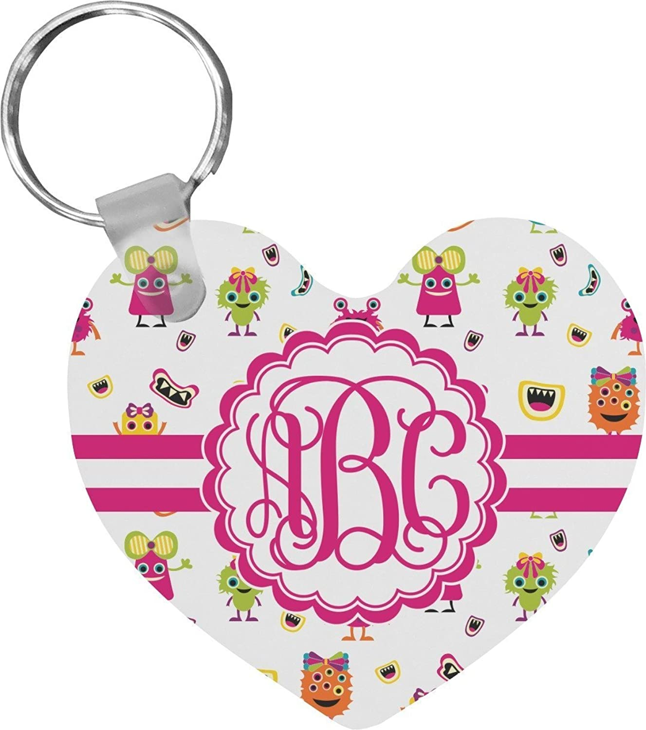 Girly Monsters Heart Keychain (Personalized)