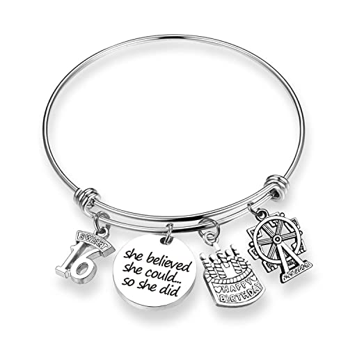 Amazon TOGON Birthday Gift She Believed Could Bracelet Sweet 16 Happy Jewelry For Daughter Best Friend Teen 16th BR