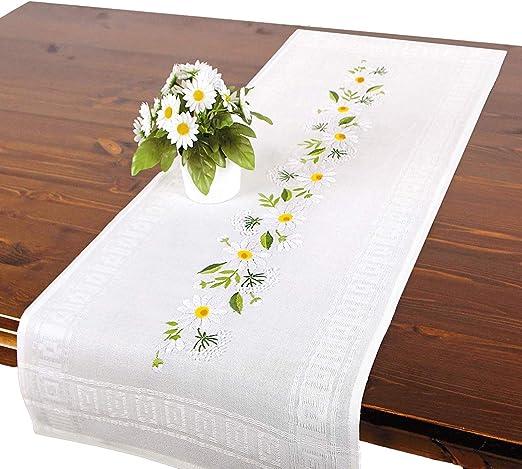 Kit de bordado Daisies, juego de bordado con plantilla para adultos, juego completo de camino de mesa con plantilla para bordado: Amazon.es: Hogar
