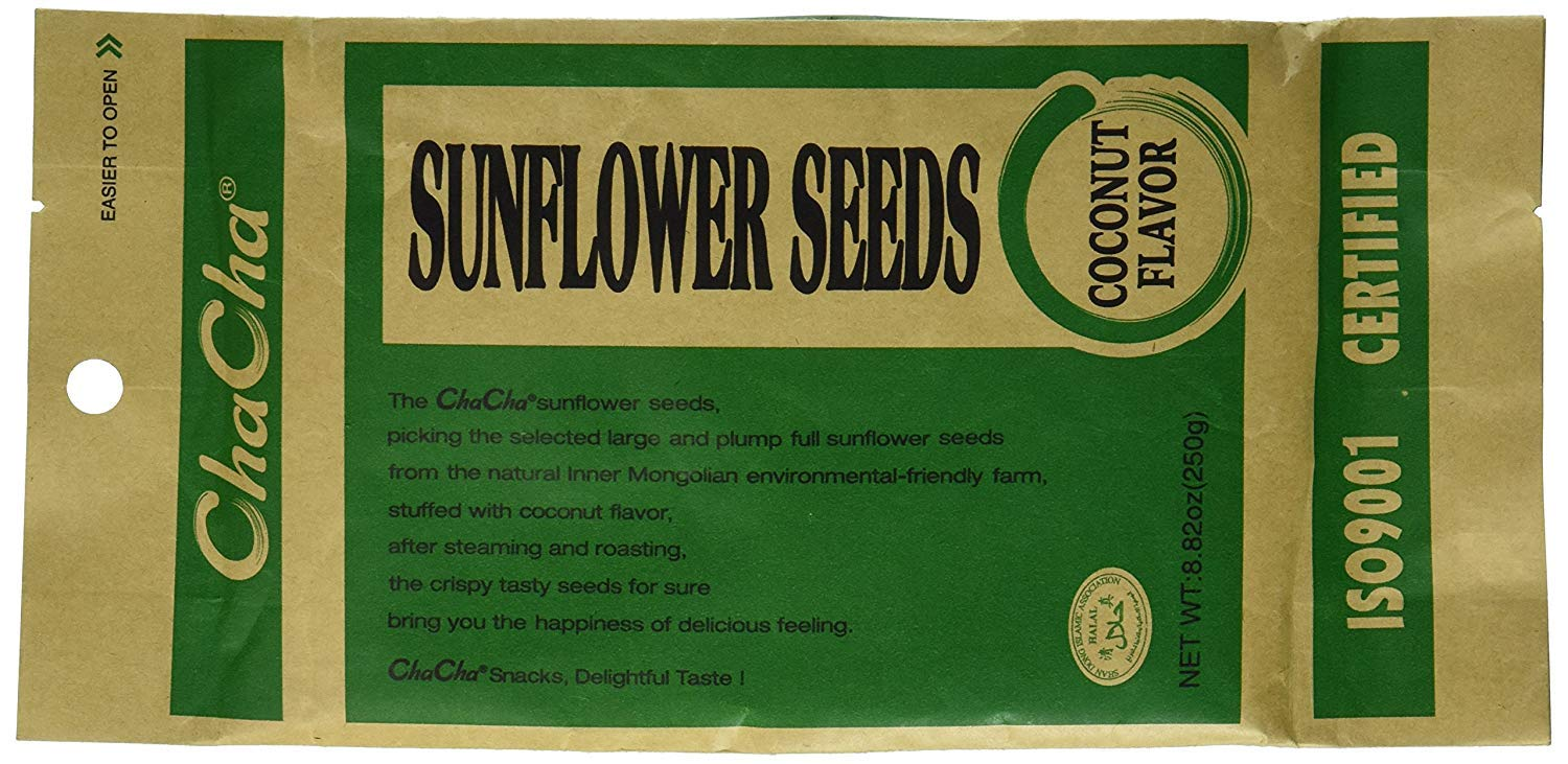 Chacha Sunflower Roasted and Salted Seeds (Coconut Flavor) Pack of 4 by NineChef