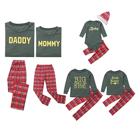 Amazon.com: Family Matching Pajamas Set Mommy Daddy Big Brother Litte Sister Baby Long Plaids Pants Parents Children Boys Girls: Clothing