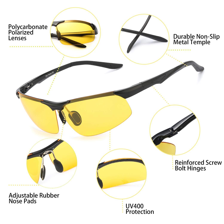TJUTR Lunettes de Conduite de nuit Lunettes Polaris/ées Homme Cadre M/étal Rectangulaire 100/% UVA UVB Protection