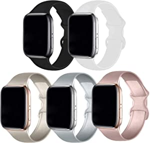 Bifeiyo 5 Pack Compatible with Apple Watch Band 38mm 40mm SM,Soft Silicone Sport Replacement Straps Compatible for iWatch Series6/5/4/3/2/1/SE(Gold/Silver/Rose Gold/White/Black)