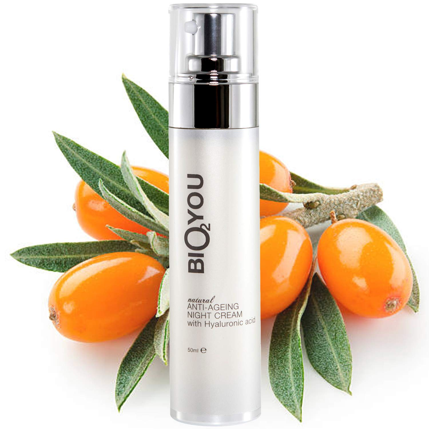 Natural Anti-Ageing Night Cream With Hyaluronic Acid Aloe Vera Vitamin E Rosehip Ginseng and Sea buckthorn oil Bio2You