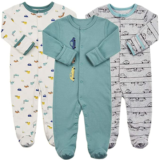 Baby Footed Pajamas with Mittens - 3 Packs Infant Girls Boys Footie Onesies Sleeper Newborn Cotton Sleepwear Outfits (3-6 Months, Car Style) best infant pajamas