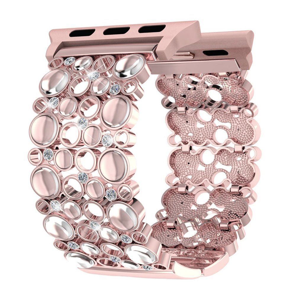 Apple Watch Band 38mm Women Rose Gold, Handmade Bling Crystal Stones iWatch Replacement Strap, Adjustable Dressy Wristband for Apple Watch Nike+, Series 3, 2, 1, Sport, Edition