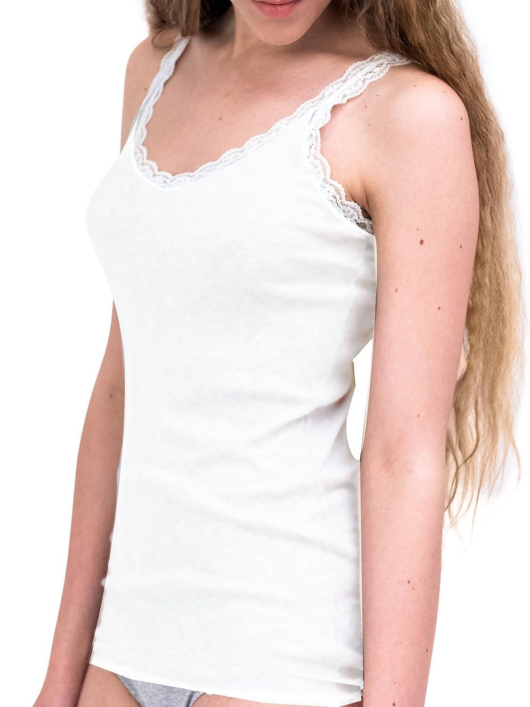 Lady Bella Lingerie C3114 - Confezione 2 Pezzi Canottiera Donna Cotone Intimo Elegante con spallina in Pizzo Bianco In Morbido Cotone Elasticizzato