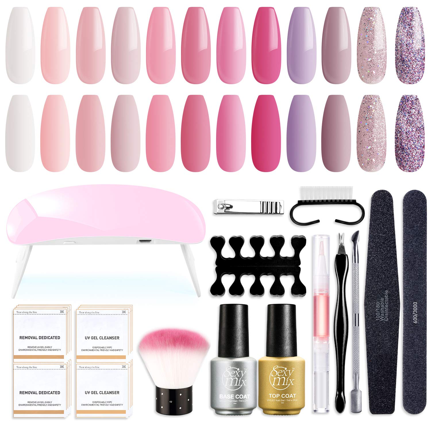 SEXY MIX Gel Nail Polish Starter Kit with LED Nail Light, with Mini 12 Lovely Nude Pink Glitter Colors Soak Off Gel Nail Polish, Base and Top Coat, Nail Art Manicure Tools Kit