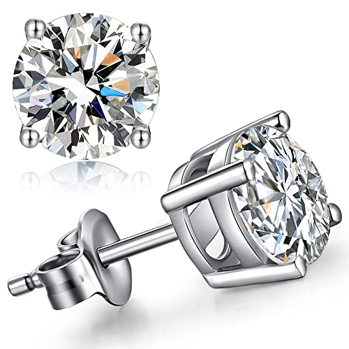 b05ff1591 925 Sterling Silver 4mm Round CZ Stud Earrings,Unique Fashion Cubic  Zirconia Earrings Stud,