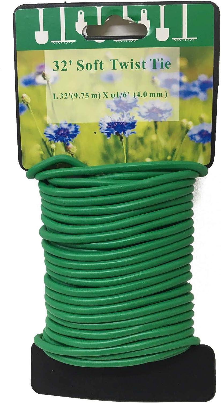 UM24 Soft Twist Ties – 32 FT (10M) Length Soft Rubber-Coated Multi Purpose Garden Flexible Tie Plant Wire