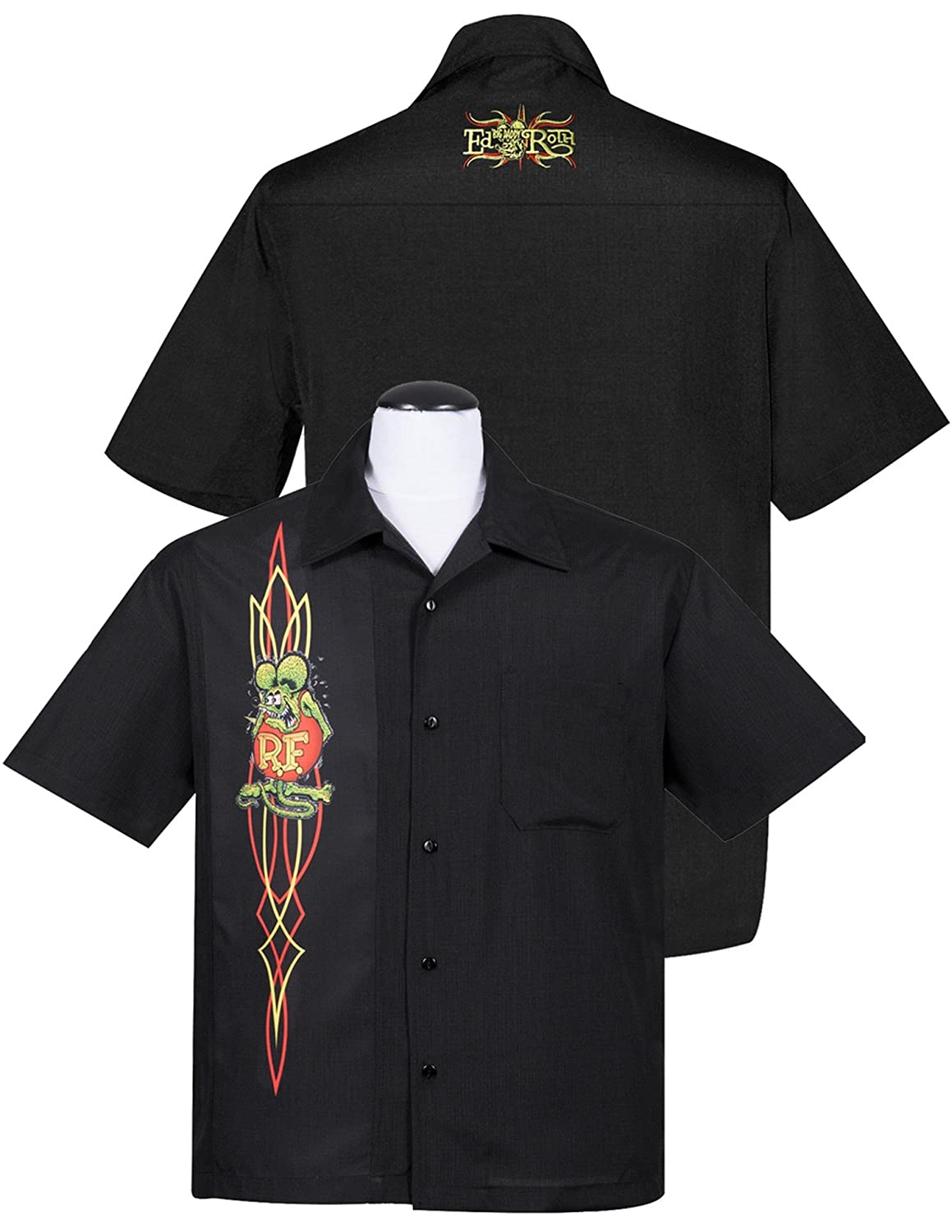 964d71197 Rat Fink Pinstripe Panel Button Up Hot Rod Character at Amazon Men's  Clothing store: