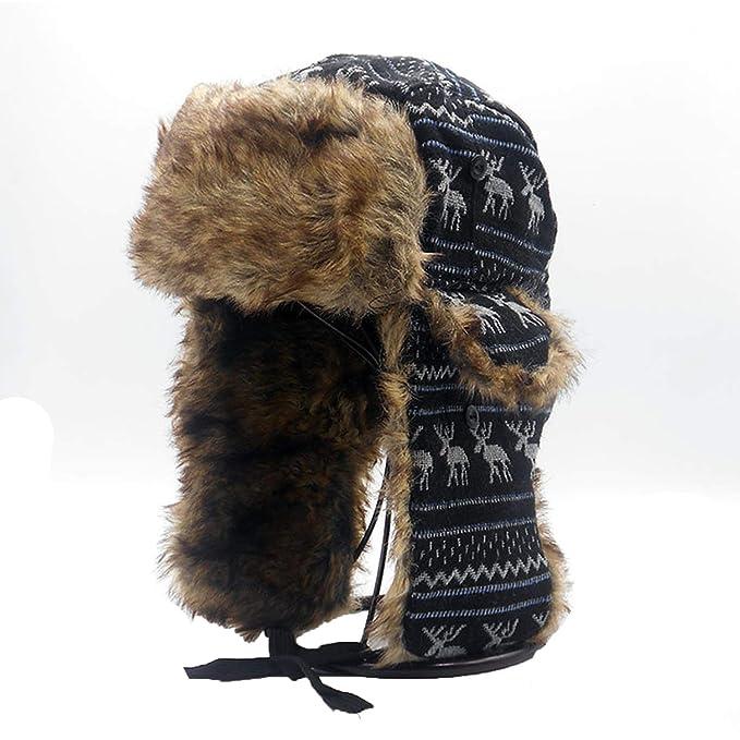 CHENTAI Mens Ear Flaps Winter Bomber Hat Ushanka Russian Hat Warm Solid  Color Man Cap Cozy Bonnet Caps for Men at Amazon Men s Clothing store  a08f1c00fbd