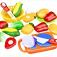 Rcool Pretend Play Food Toys, 12PC Cutting Fruit Vegetable Pretend Play Puzzle Toys Children Kids Educational Toy Set