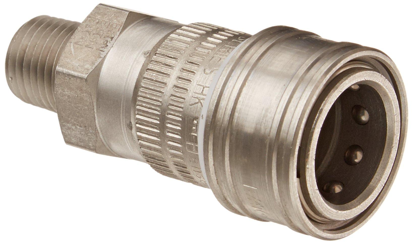 Eaton Hansen 2HIG15 Stainless Steel Ball Lock Hydraulic Fitting, Socket, 1/4''-18 NPTF Male, 1/4'' Body
