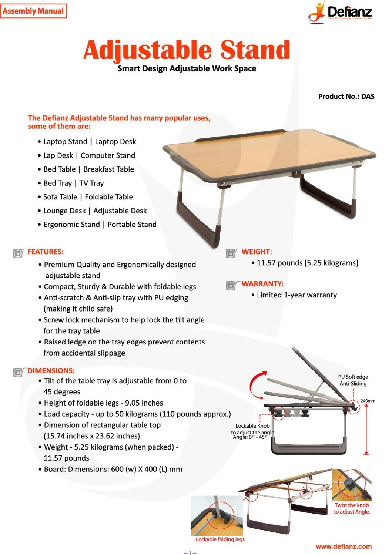 Laptop bed table tray - Amazon Com Defianz Adjustable Stand Bed Table Breakfast Tray Breakfast Table Laptop Stand Portable Table Folding Table Bed Tray Laptop Tray