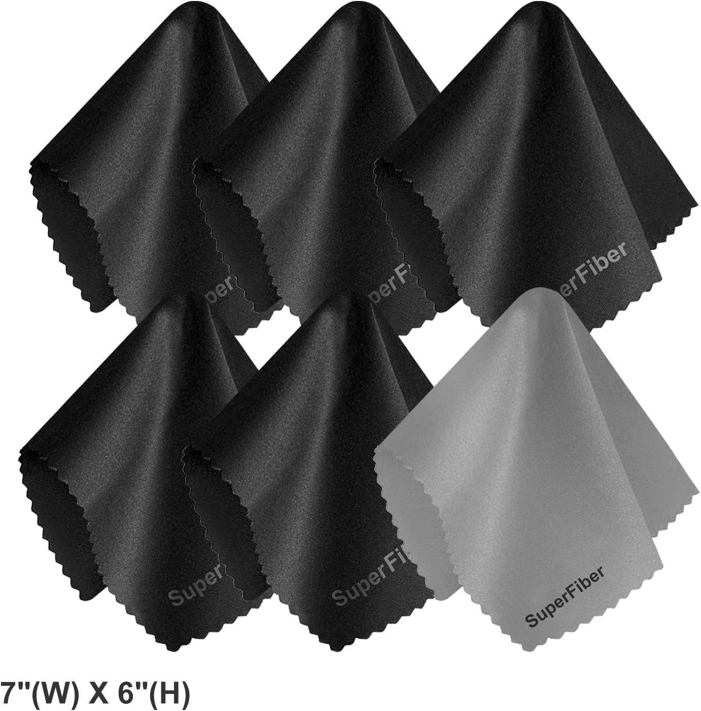 7 Camera Lens LS PHOTOGRAPHY 6 Pack Black and Gray Microfiber Cleaning Cloth Computers LGG824 W H Surfaces Wipes Cleaner Lint Free Cloth for Eyeglasses X 6 LCD Screens Cell Phones