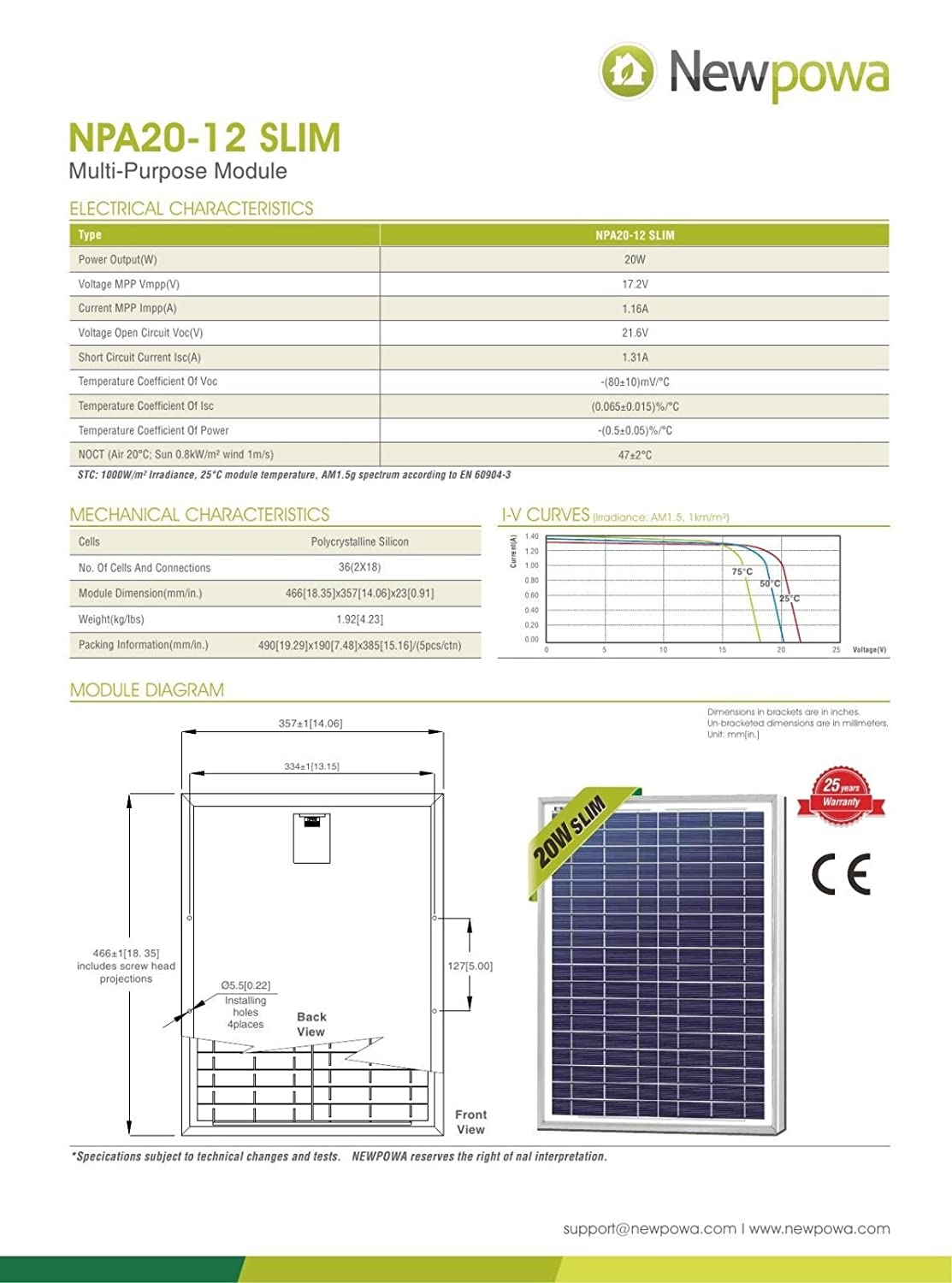 Newpowa 20w Watts 12v Poly Solar Panel Module Rv Marine Boat Off Wiring Diagram Grid Npa20 12