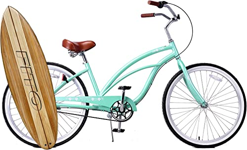 Fito Anti Rust Light Weight Aluminum Alloy Frame Marina Alloy 3 Speed 26 Wheel Womens Beach Cruiser Bike Bicycle Mint Green