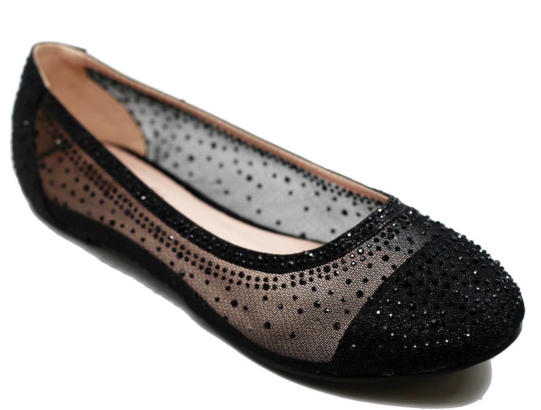 Walstar Women's Shoe Mesh Glitter Comfort Ballet Flat B07DK1PBQ6 6.5 B(M) US|Black