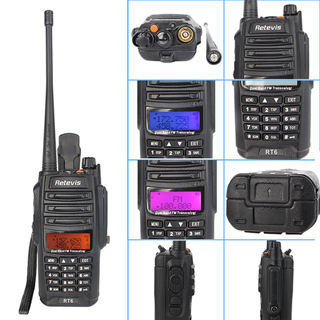 Retevis RT6 2 Way Radio IP67 Waterproof Dual Band VHF/UHF 136-174Mhz/400-520Mhz Walkie Talkie with Earpiece (5 Pack) and Programming Cable (1 Pack) by Retevis (Image #3)