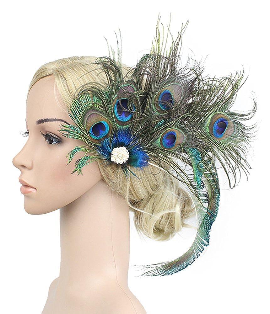 Urban CoCo Women's Peacock Feather Rhinestone Hair Clip MORX329H
