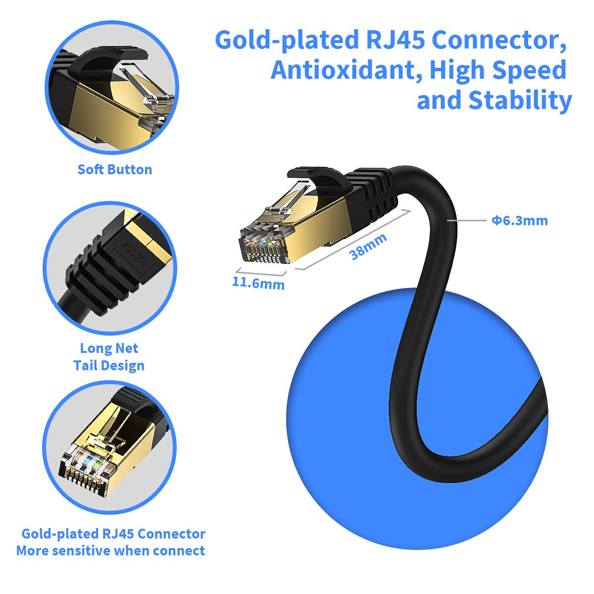 Ethernet Cable 30 ft Cat 8 Cable Zosion Cat 8 High Speed 2000MHZ 40GBPS Internet Patch Cable Cord Shielded Durable Gold Plated RJ45 Connector for Gaming PC TV PS4 Modem Router Mac Laptop Xbox Movie