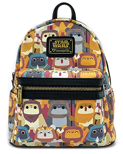 Amazon.com  Loungefly X Star Wars Ewok Faux Leather Mini Backpack  Sports    Outdoors 2d481593e44d4