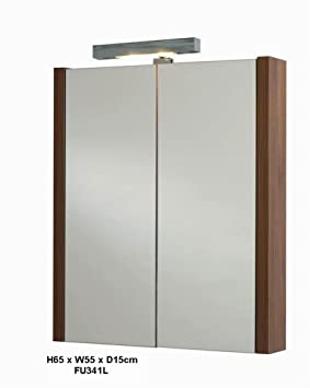 Walnut Bathroom Mirror Cabinet And Light