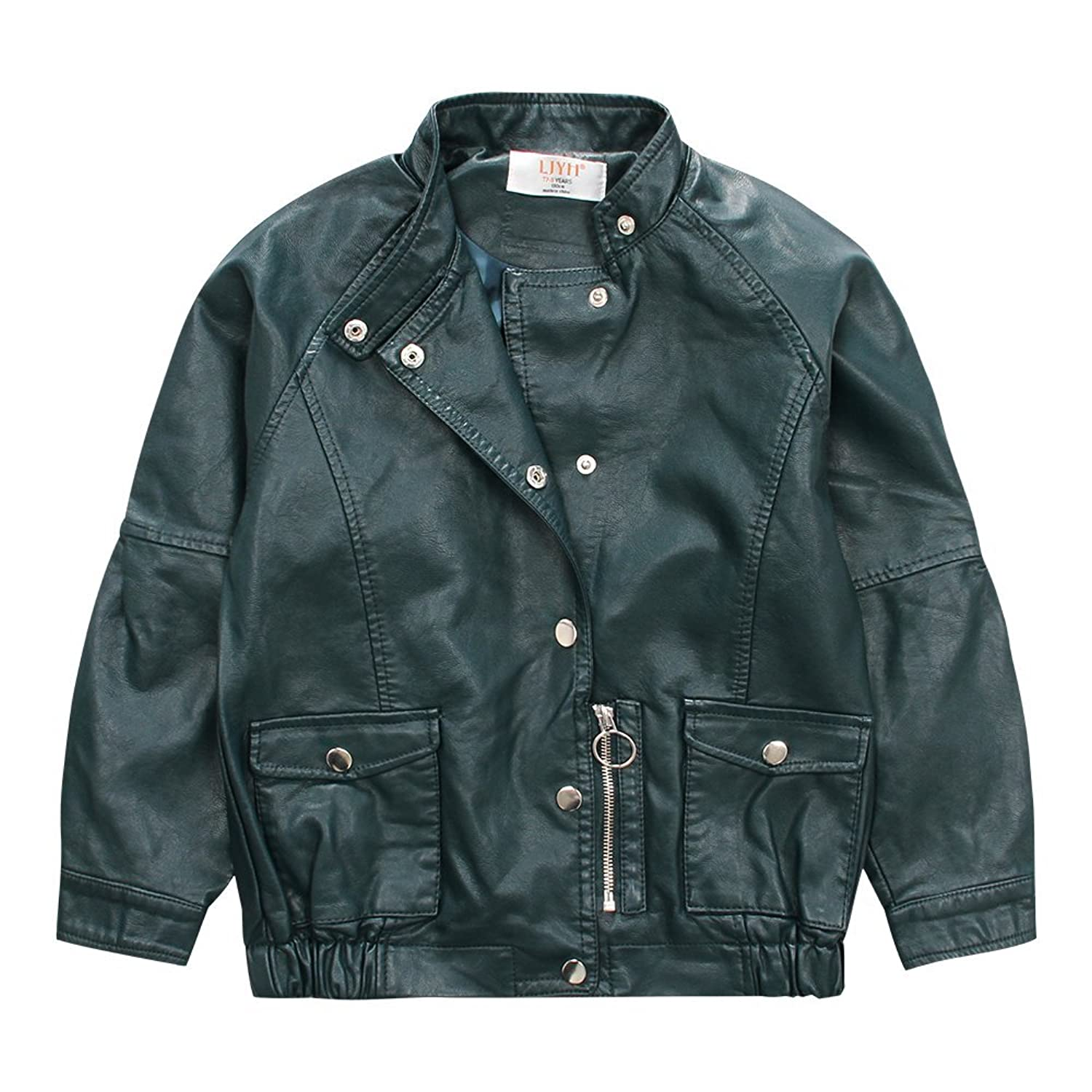 f6b2824bc195 LJYH Stand Collar Boy Leather Jacket Children s Classic Faux Leather ...