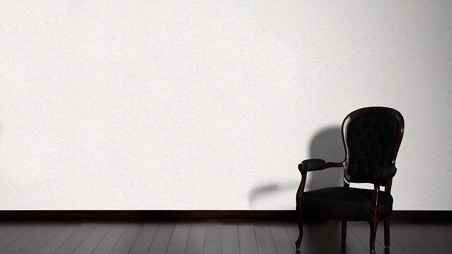 Cr/éation Vliestapete Simply White Tapete grafisch 10,05 m x 0,53 m metallic wei/ß Made in Germany 132055 1320-55 A.S