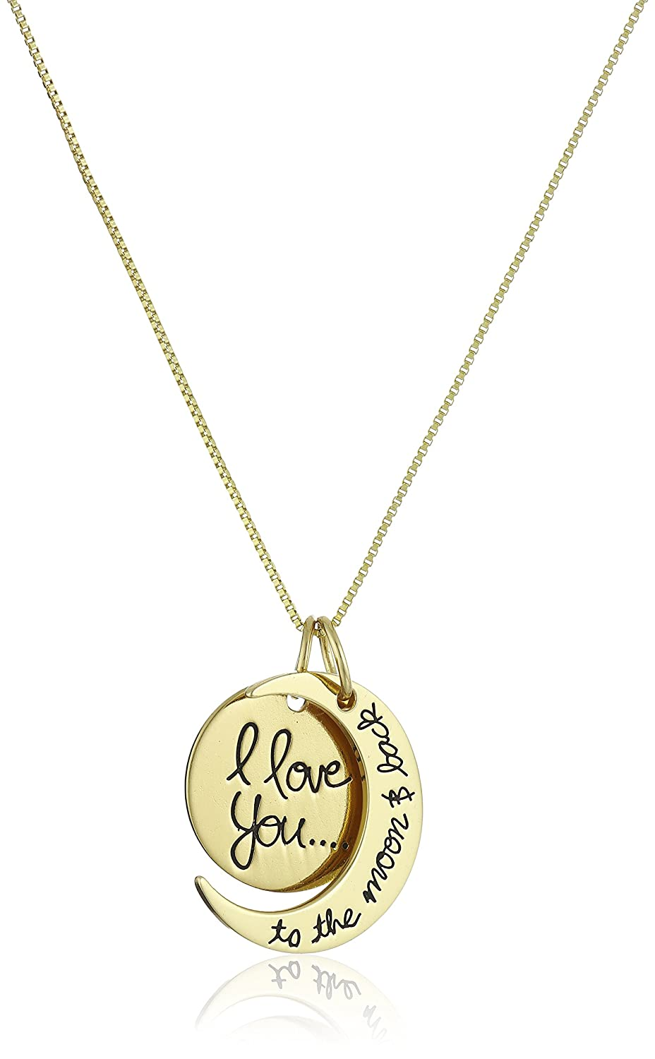Sterling Silver Yellow Gold Flashed I Love You To The Kalung Moon And Back Two Piece Pendant Necklace 18 Jewelry