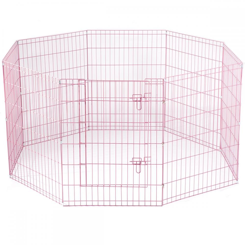BestPet Metal Wire Playpen, 42 Inch Tall Pink w carry case