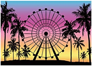 Funnytree 7x5FT Summer Seaside Ferris Wheel Photography Backdrop Palm Tree Sunset Background Baby Shower Tropical Wedding Party Decoration Banner Supplies Photobooth Prop