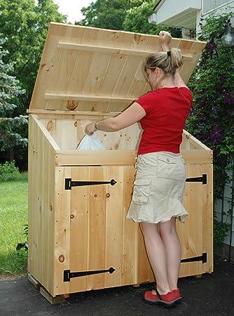 Amazon.com: Cubo de basura de madera de pino natural, 2 x 4 ...