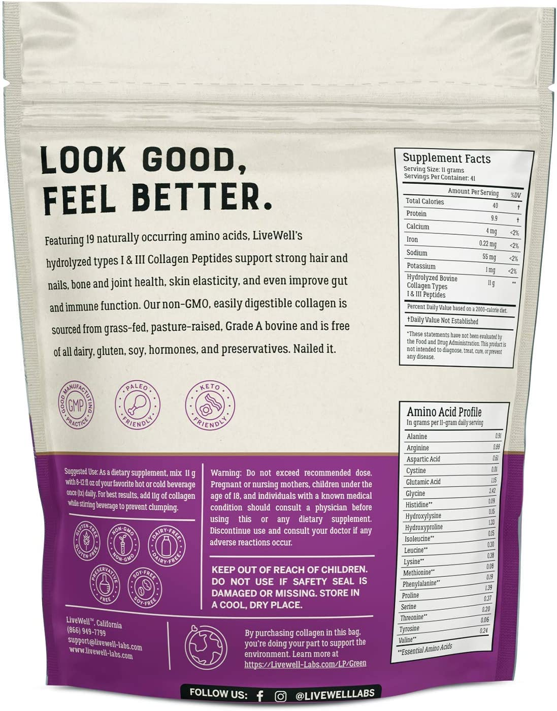 Collagen Peptides - Hair, Skin, Nail, and Joint Support - Type I & III Collagen - All-Natural Hydrolized Protein - 41 Servings - 16oz (Packaging May Vary)