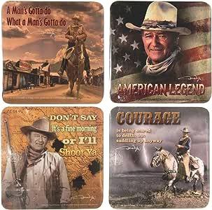John Wayne Coasters -Set of Four: American Legends- Courage- I'll Shoot.- Man's Got.