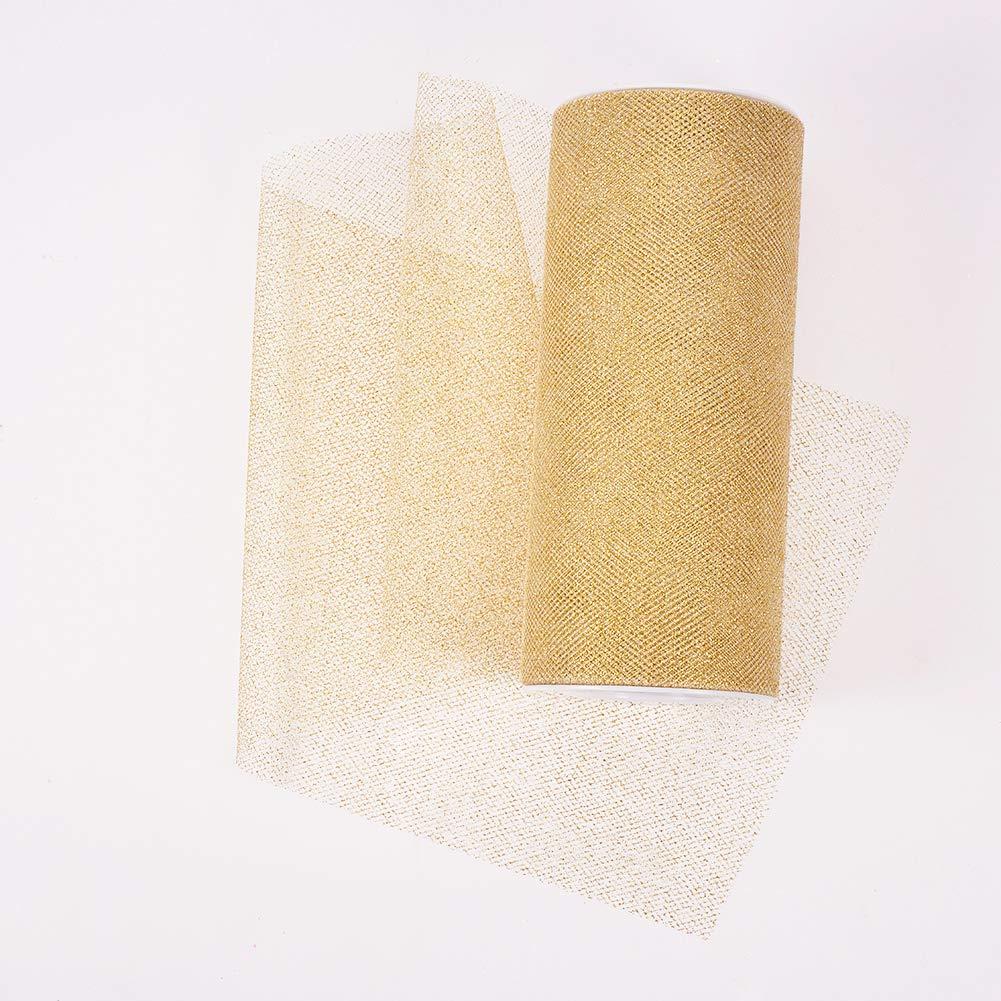 Rollo BENECREAT 45m Tulle Brillante Color Dorado Brillo Rollo de Cinta Suave para Decoraci/ón Costura y Manualidad Aprox 22.8m