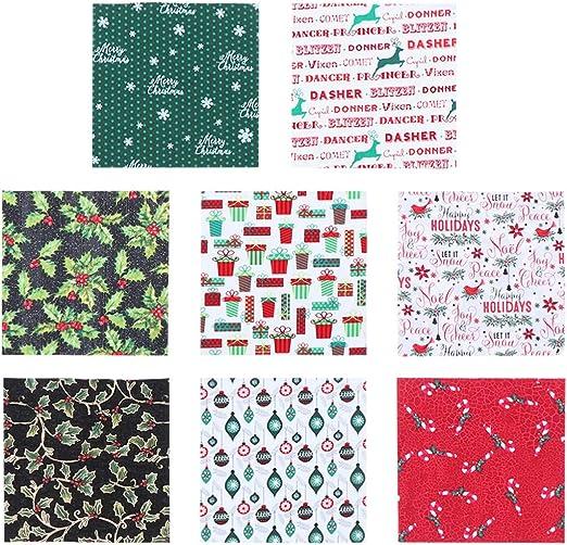 SUPVOX 40 Piezas Tela de Algodón de Navidad para Patchwork Costura Artesanía Bricolaje Manualidades: Amazon.es: Hogar