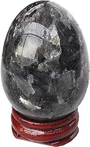 Gemgogo Black Labradorite Egg-Shape Meditation Chakra and Home Decor Balancing Gemstone and Crystals Figurines Kit,1.5