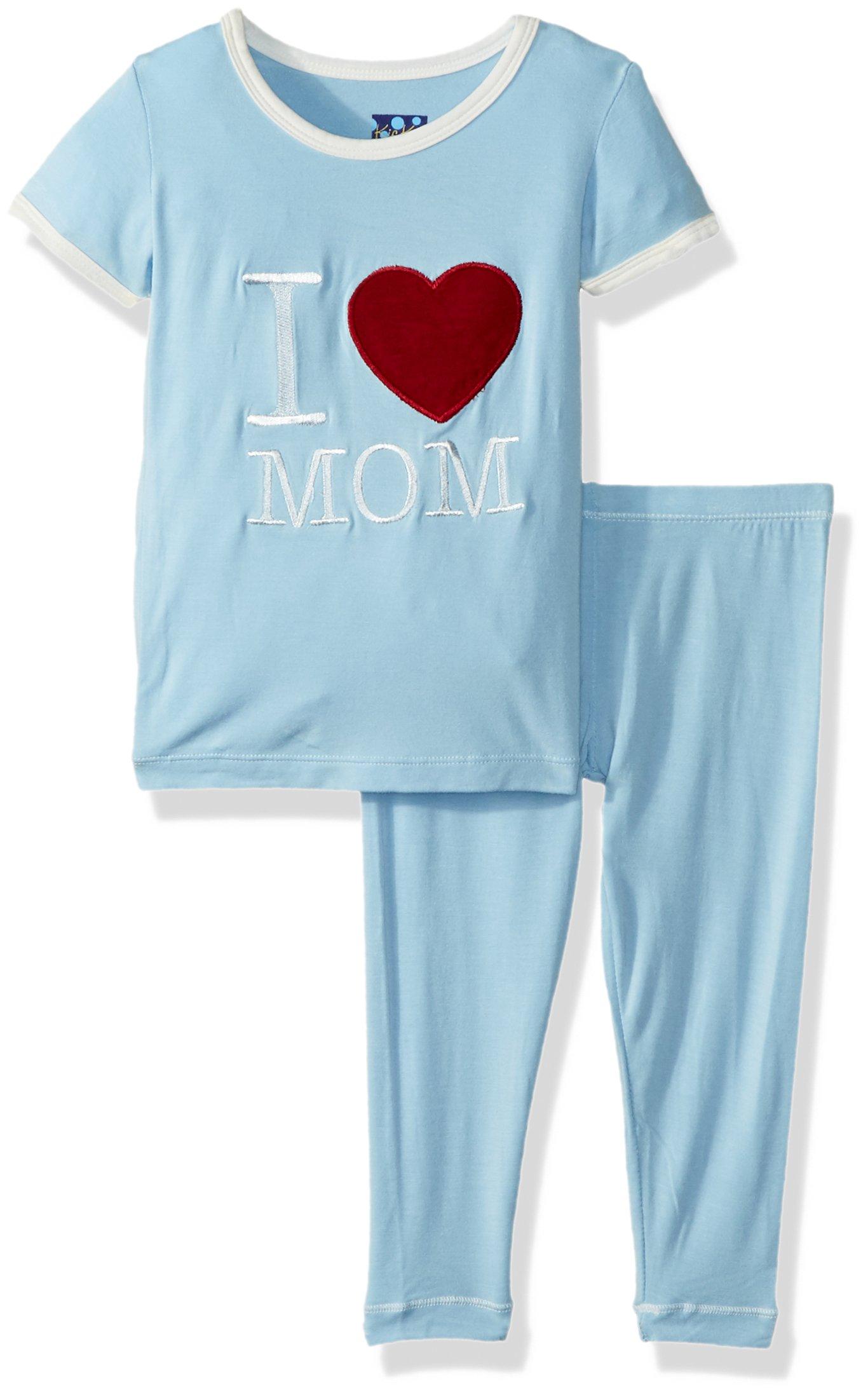 Kickee Pants Baby Boys Holiday Short Sleeve Applique Pajama Set, Pond I Love Mom, 12-18m by Kickee Pants (Image #1)