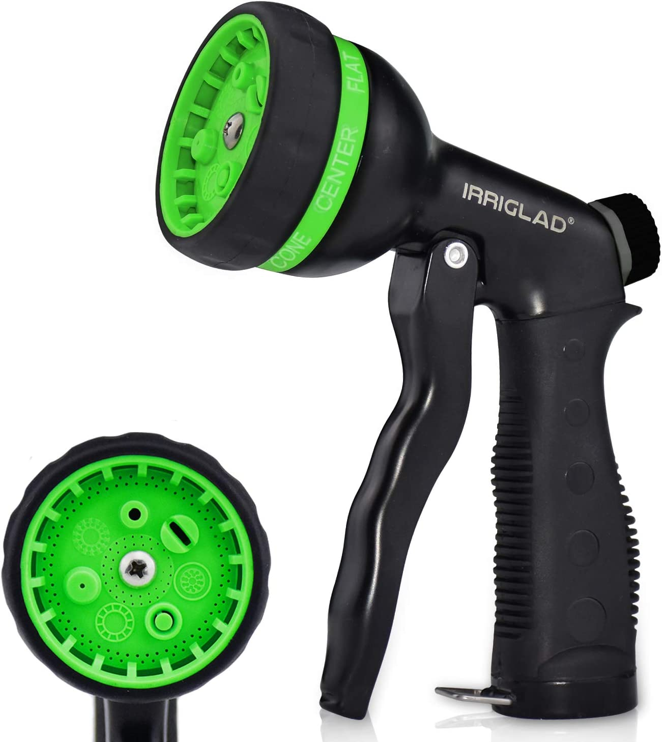 IRRIGLAD Garden Heavy Duty Hose Nozzle, 7 Adjustable Spray Patterns, Comfort Grip, Water Hose Nozzle Gun for Watering Lawns, Washing Cars and Pets