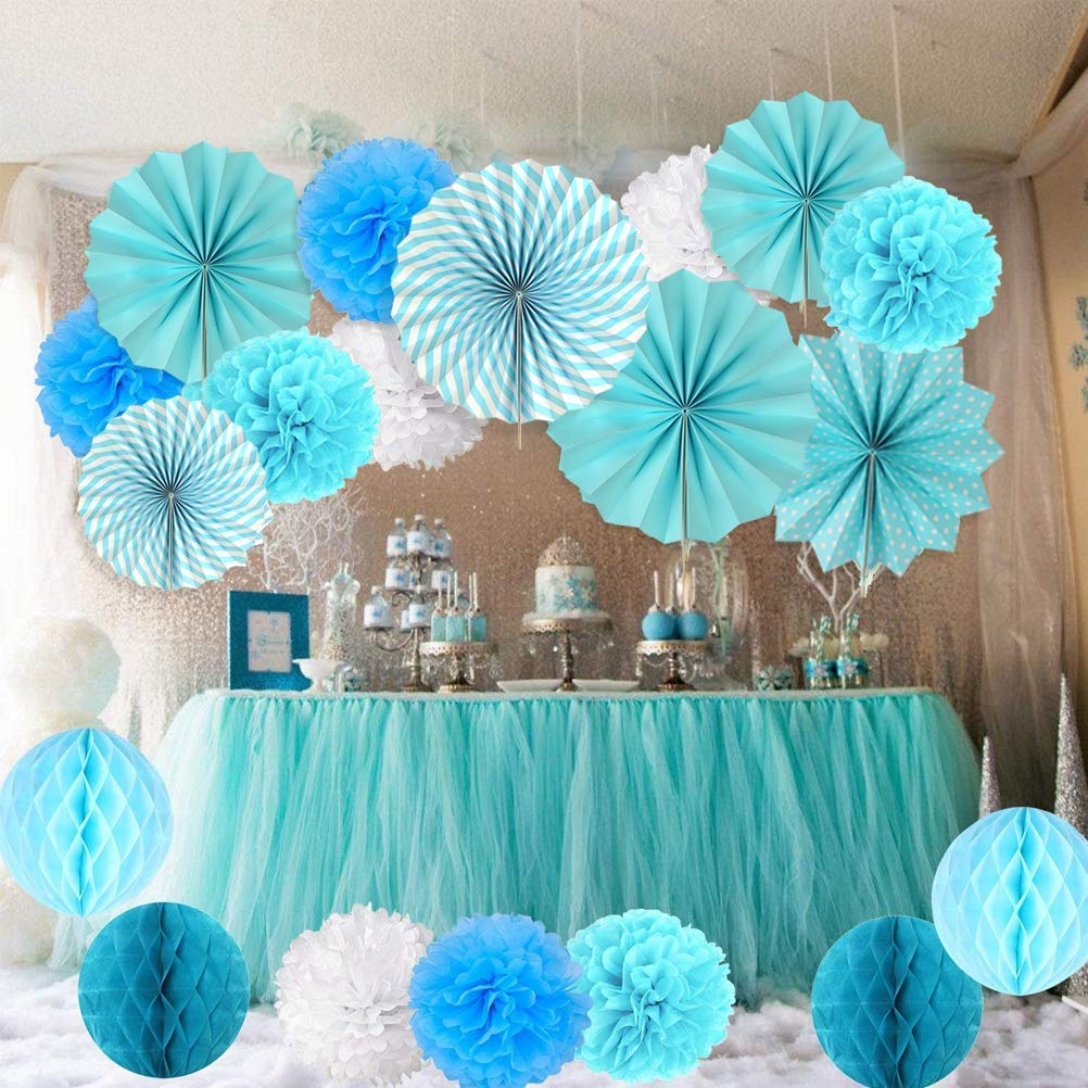 BUYGOO 21PCS Paper Flower Ball Set, 9 * Tissue Paper Pom Poms 6 * Hanging Paper Fans 6 * Honeycomb Paper Balls for Wedding, Birthday, Baby Shower, Festival Decorations(Blue and White)