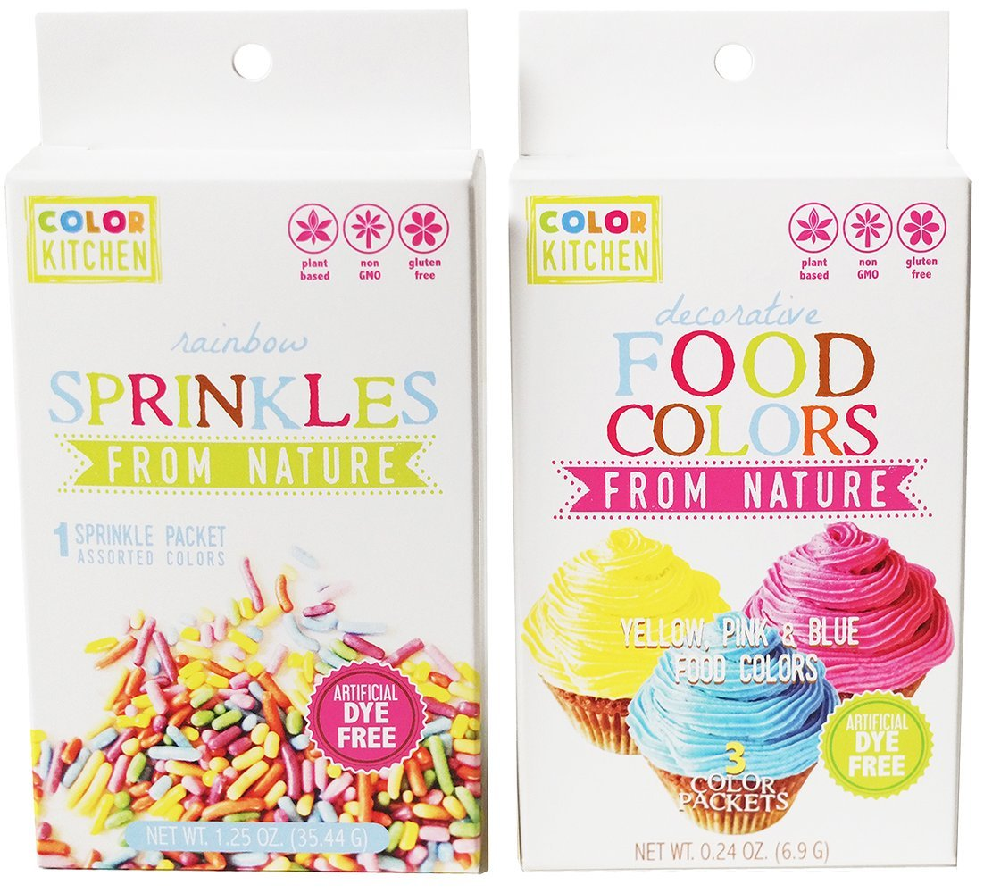 Food Coloring - ColorKitchen Food Coloring Set of 3 - Colors: Pink, Blue, Yellow - Natural - Vegan - Non-GMO - No Artificial Food Dyes - Highly Concentrated Powder Pigment - Includes Rainbow Sprinkles