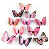 12Pcs 3D Butterfly Magnet Wall Stickers Vovotrade® Thanksgiving Christmas (Pink)