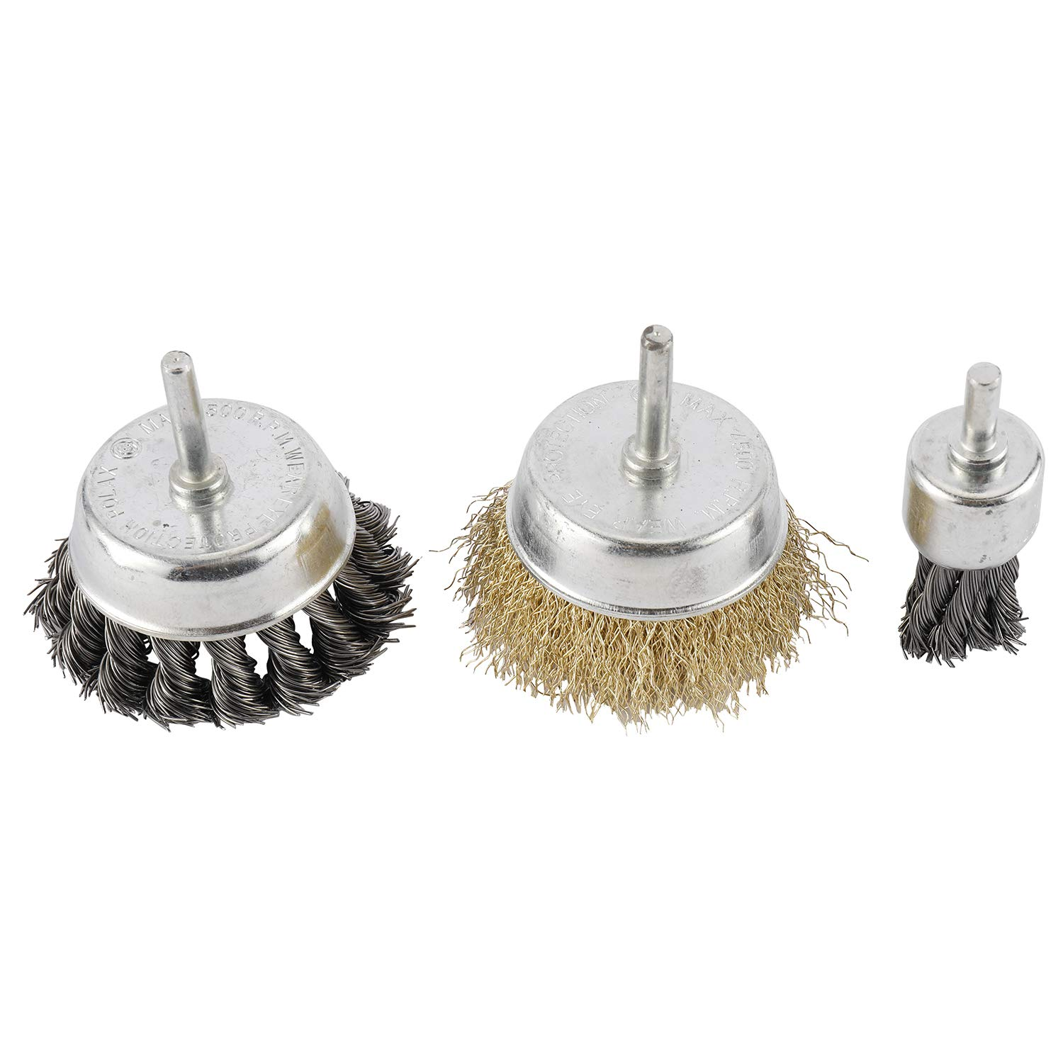 3 Inch Knotted and Plated Crimped and 1-Inch Carbon Knot Wire End Brush Toolly 6 Pack Wire Wheels Brush Cup Wire Wheels Brush Set